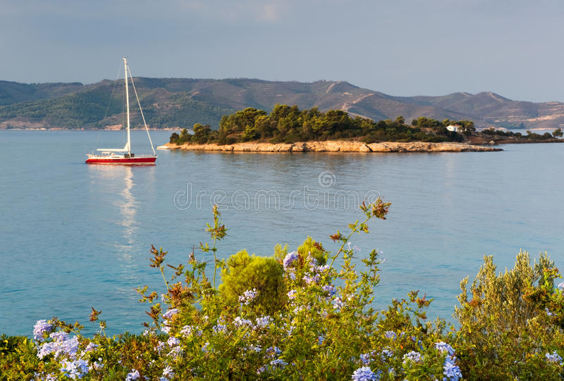 Download Yacht in serene location stock image. Image of boat, greek - 10567757