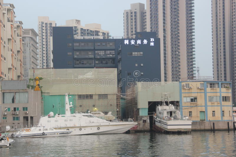 Yacht shipyard in China SHENZHEN. Several yachts are fitting in the shipyard dock in China SHENZHEN royalty free stock photos