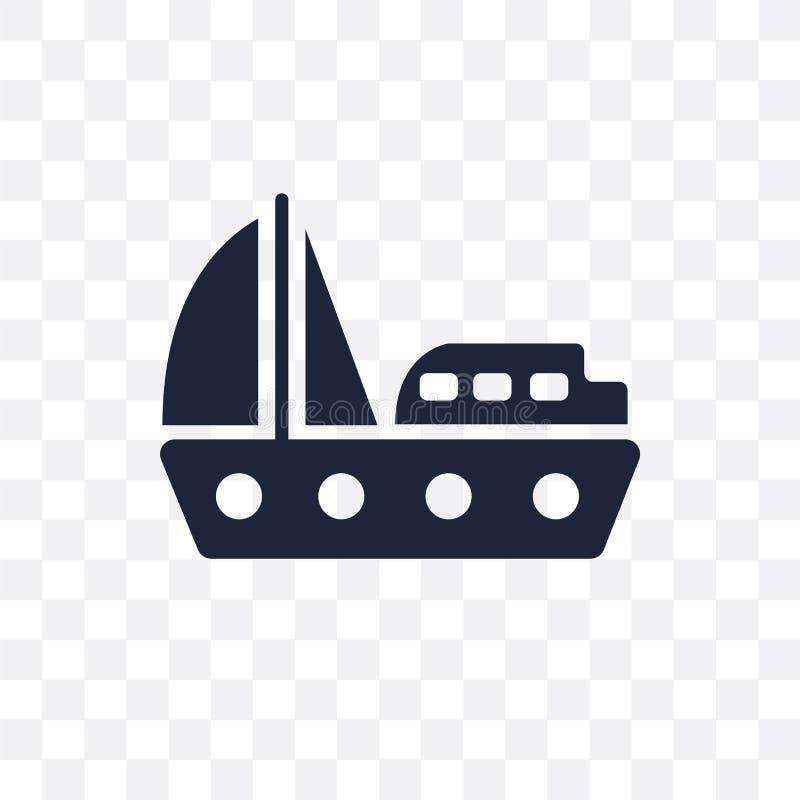 Yacht som vänder mot den högra genomskinliga symbolen Yacht som vänder mot högert symbol D vektor illustrationer