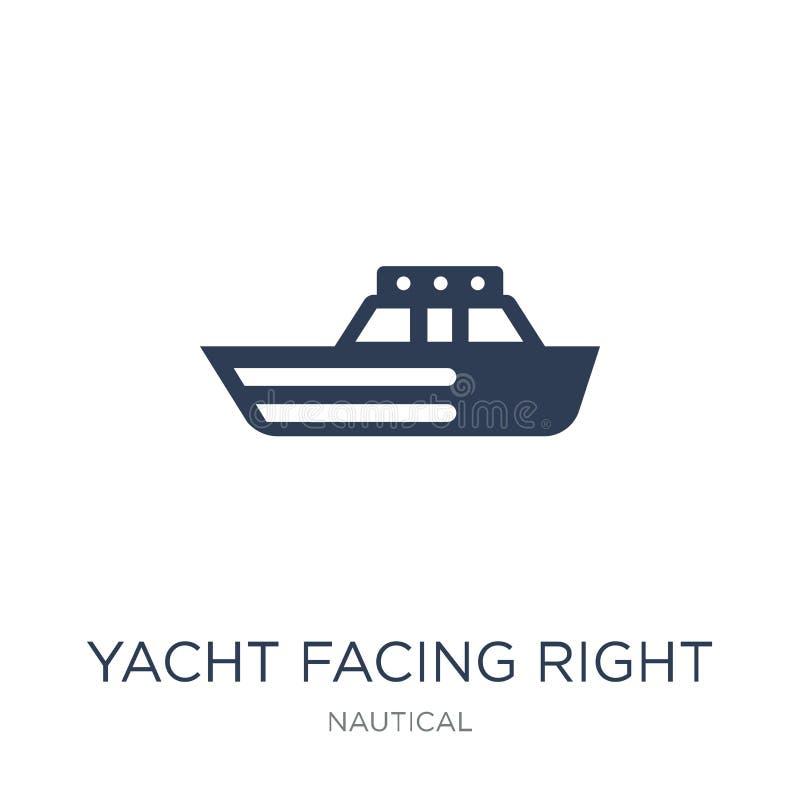 Yacht som vänder mot den högra symbolen Moderiktig plan vektoryacht som vänder mot högert I vektor illustrationer