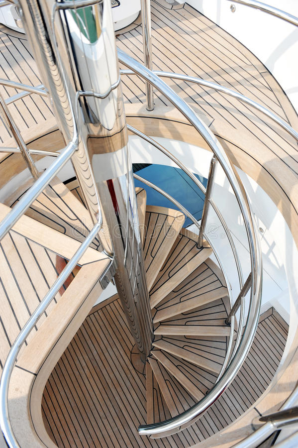 Yacht stairs royalty free stock image