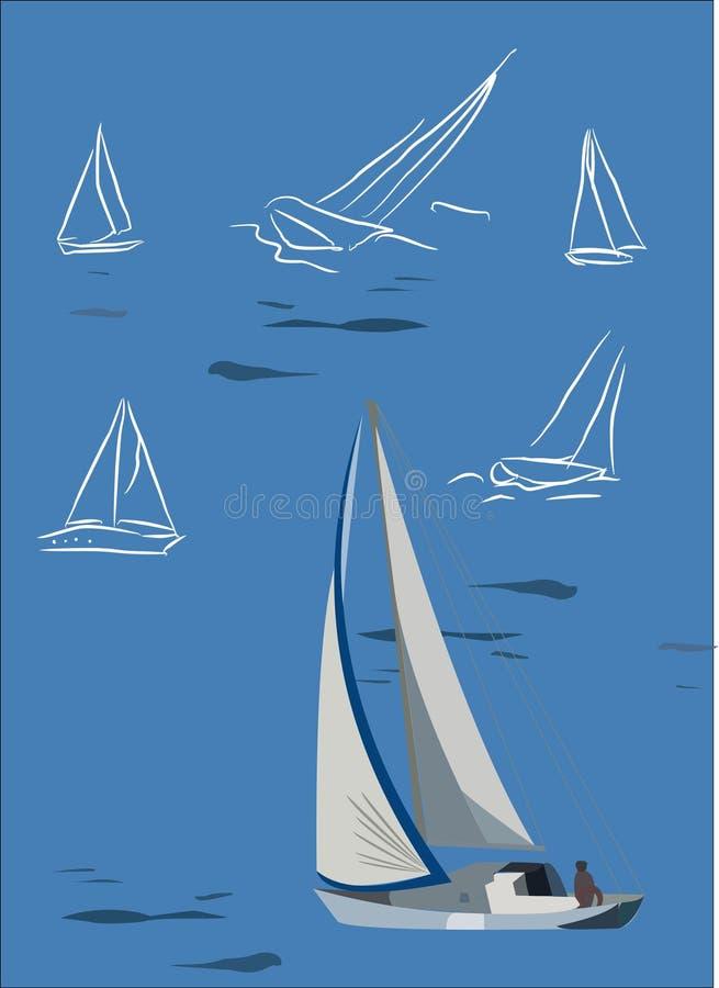 Yacht stylisé illustration de vecteur