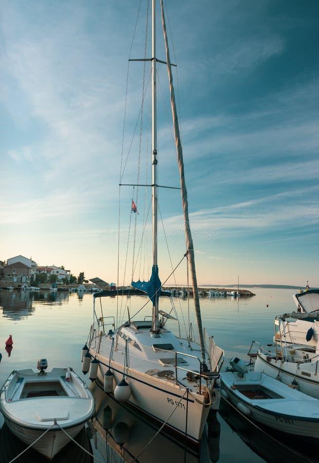 Yacht in Sunrise Dock in Croatia stock photography