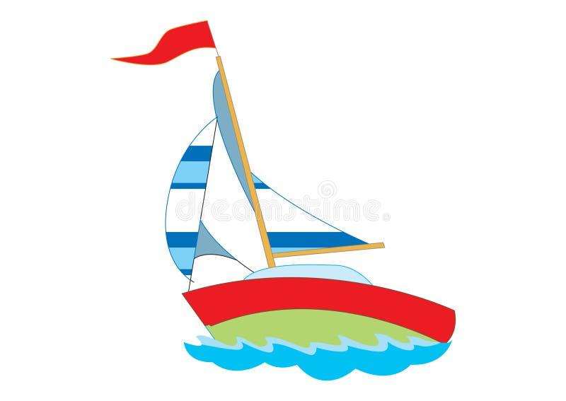 Yacht sveglio per l'illustrazione dei bambini illustrazione di stock