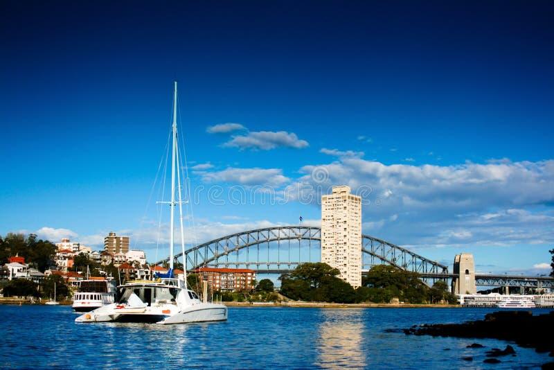 Yacht on Sydney Harbor (Harbour) stock image