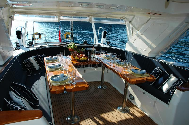 Yacht table setting stock photo