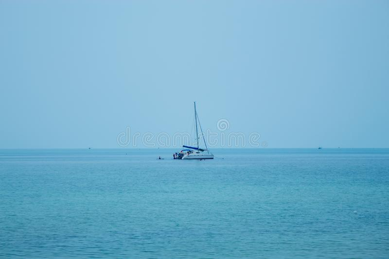 A yacht that takes tourists snorkeling and kayaking at Koh Phangan, Surat Thani. royalty free stock images