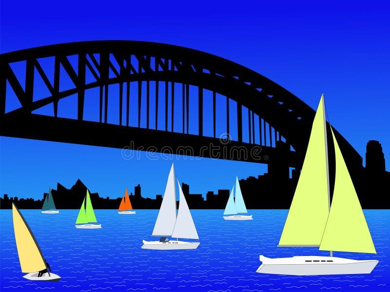 Yacht- und Sydney-Skyline lizenzfreie abbildung