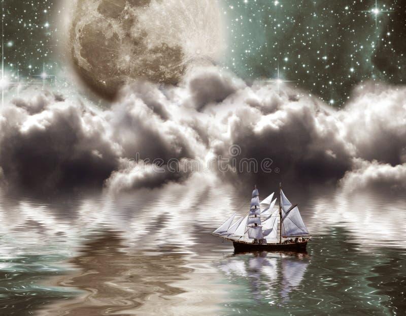 Yacht under moon royalty free illustration