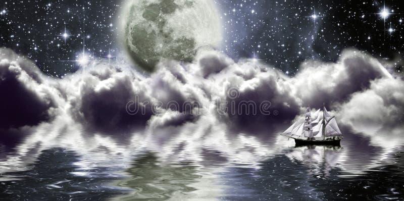 Yacht under moon vector illustration