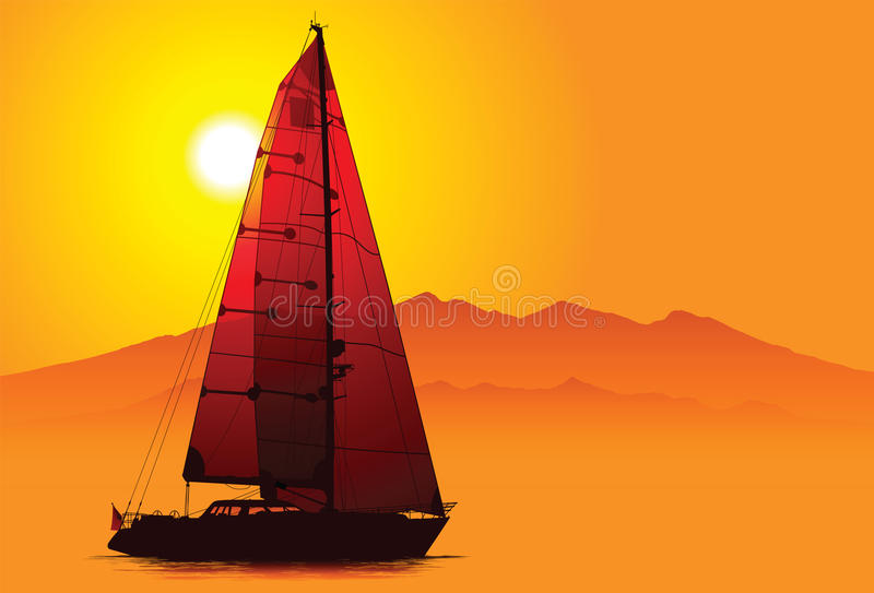 Download Yacht under sail stock vector. Image of journey, relax - 14119509