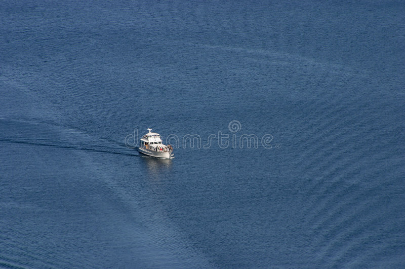 Yacht Viewed from Above stock photo