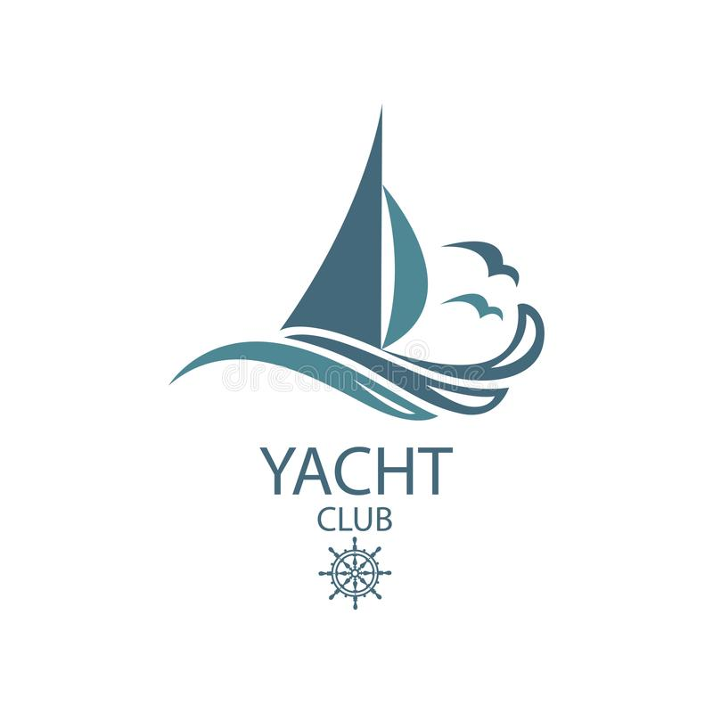 Yacht and waves icon. Icon of sailing yacht and ocean waves with seagulls vector illustration