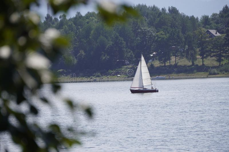 Yacht with a white sail is on the lake against the background of mountains and forests. view from camping, motorhomes, van life. Yacht with white sail is on the royalty free stock photography