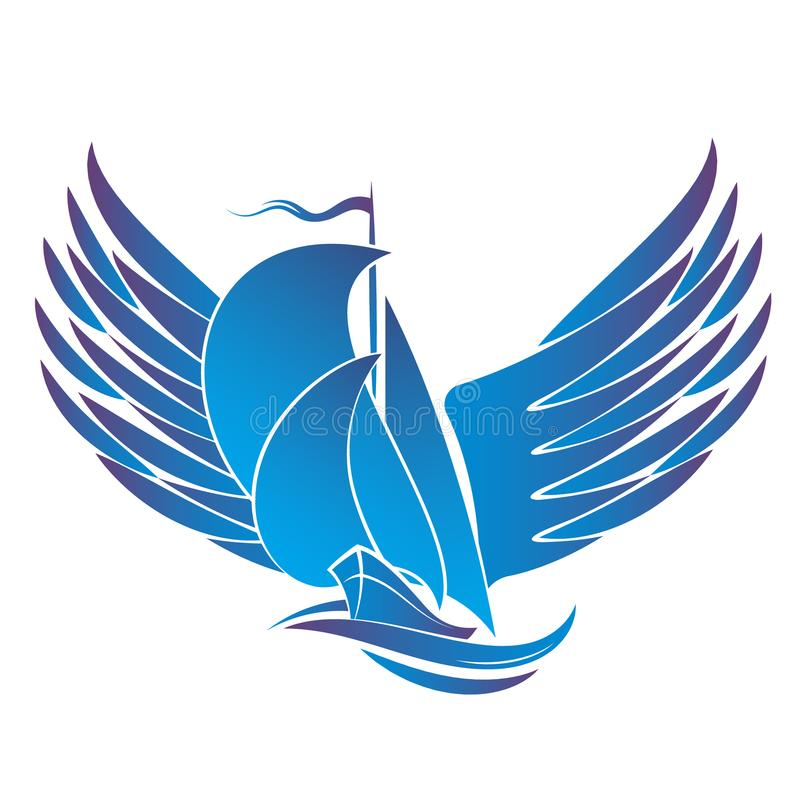 Yacht with wings. Yacht with sails and wings silhouette royalty free illustration