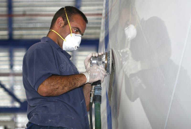 Download Yacht Worker Polishing Hulk Editorial Photography   Image Of  Mallorca, Boat: 65995337