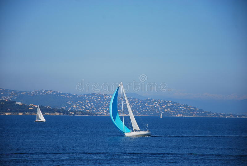 Yacht in the Saint Tropez Bay, France. stock image