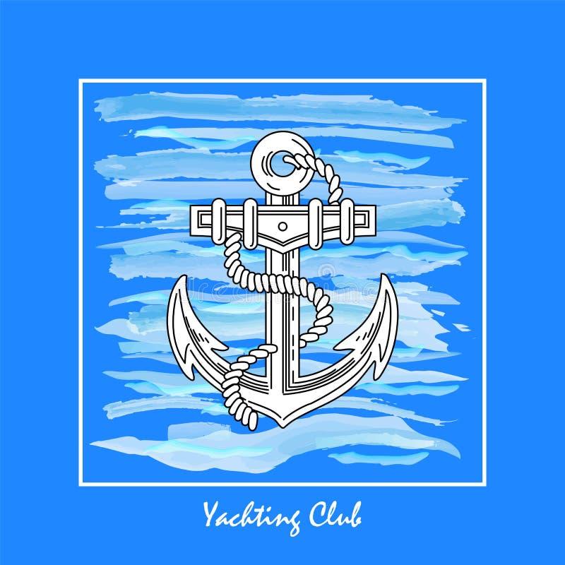 Yachtclublogo gemacht auf einem Hintergrund von Meereswellen, Vektorillustration ein Schiffsanker vektor abbildung