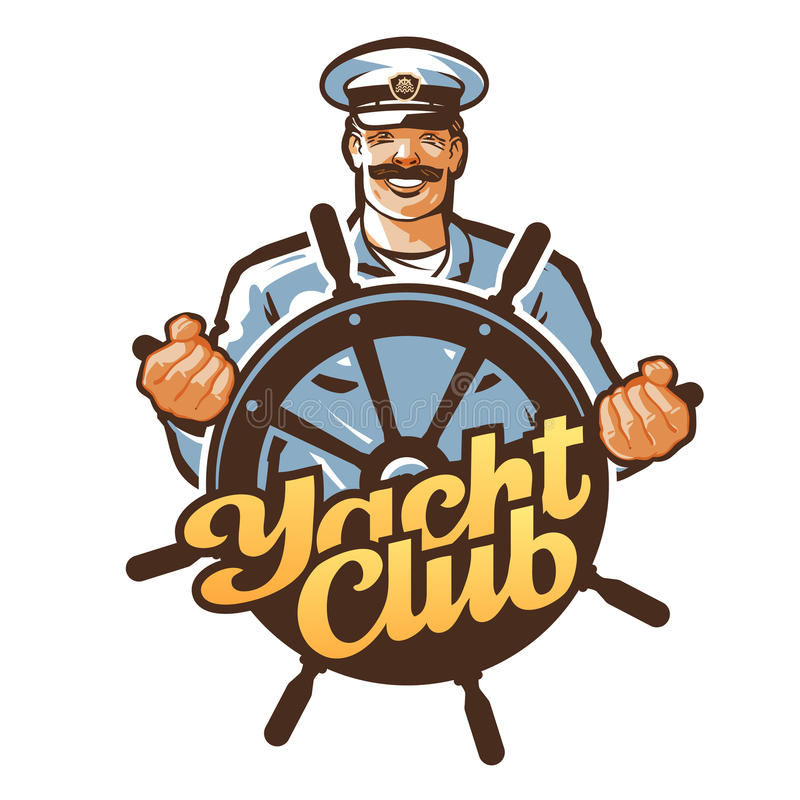 Yachtclubvektorlogo Schiffskapitän, Seemann oder Helm, Lenkradikone stock abbildung