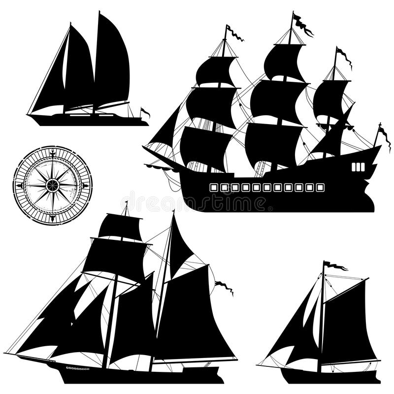 Yachten och gamla piratkopierar skepp - vektoruppsättning vektor illustrationer