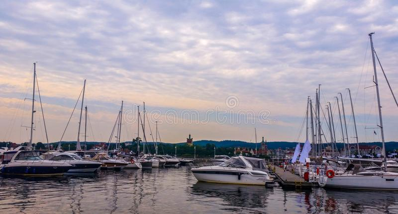Yachten in Sopot, Polen lizenzfreies stockbild