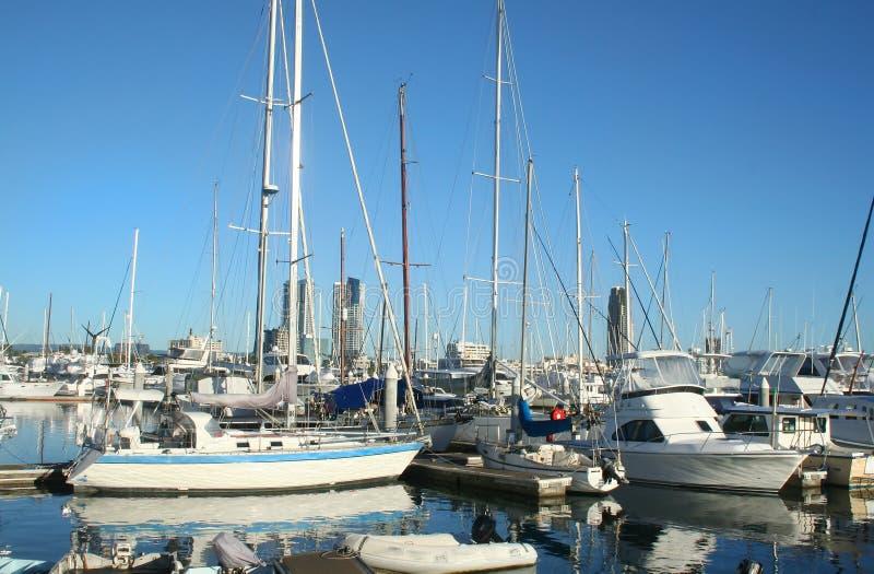Yachten am Southport Jachthafen Gold Coast stockfoto
