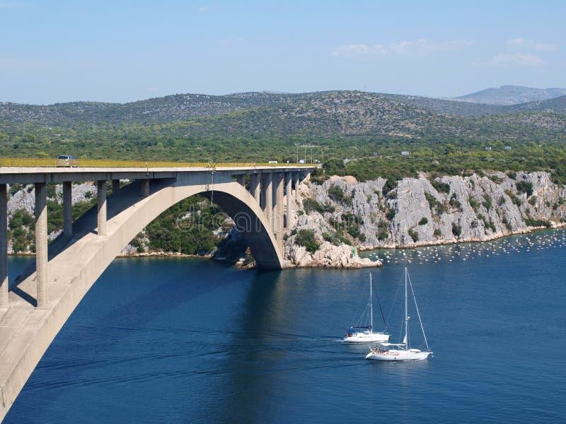 yachter för bro två arkivfoton