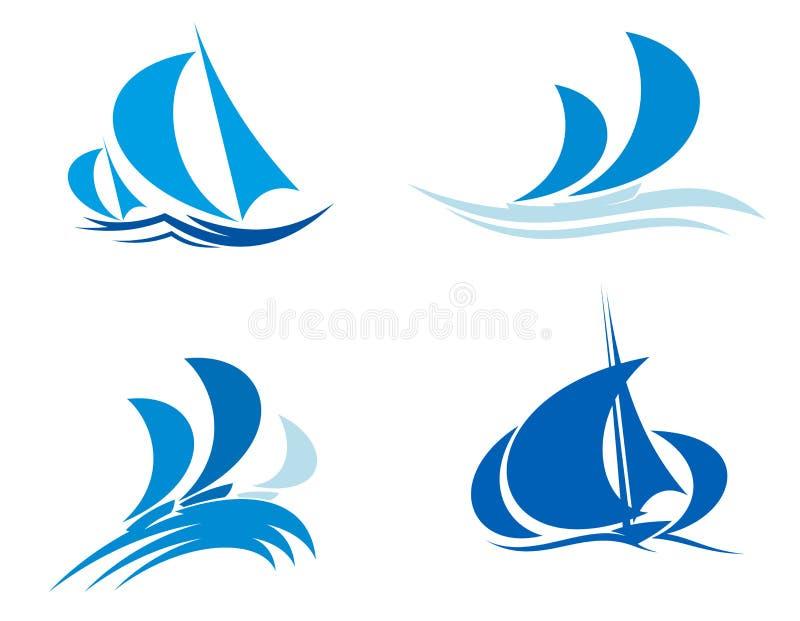 Yachter och fartyg på regatta stock illustrationer