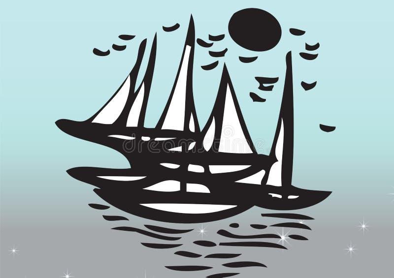 Yachter som seglar i havet arkivbild