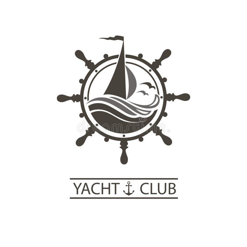 Yachthelm und Wellenikone stock abbildung