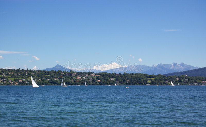 Yachting in Geneva lake stock photos