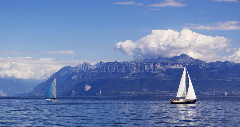 yachting in Geneva See stockfotos