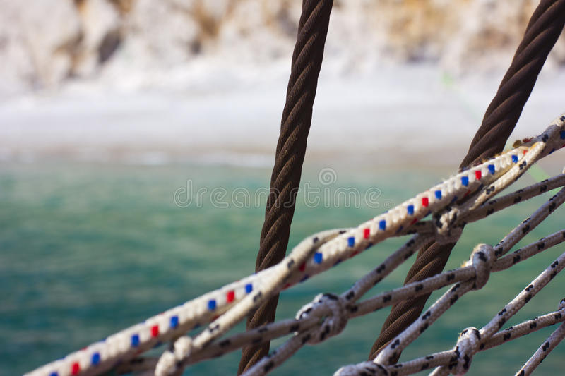 Yachting and shipping. Rope knots. Sea travel. Yachting and shipping. Rope knots royalty free stock image