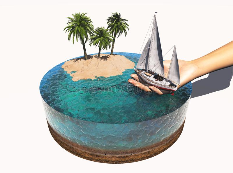 Yachtmodell vektor illustrationer