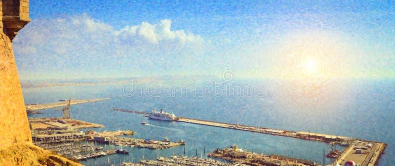 Yachtport av Alicante, slott Santa Barbara vektor illustrationer
