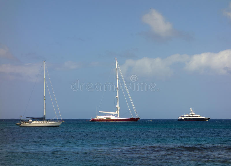 Yachts at anchor in admiralty bay royalty free stock image