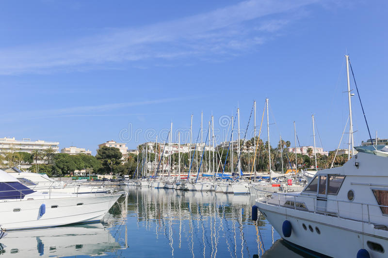 Yachts anchored in Port Pierre Canto in Cannes stock photos