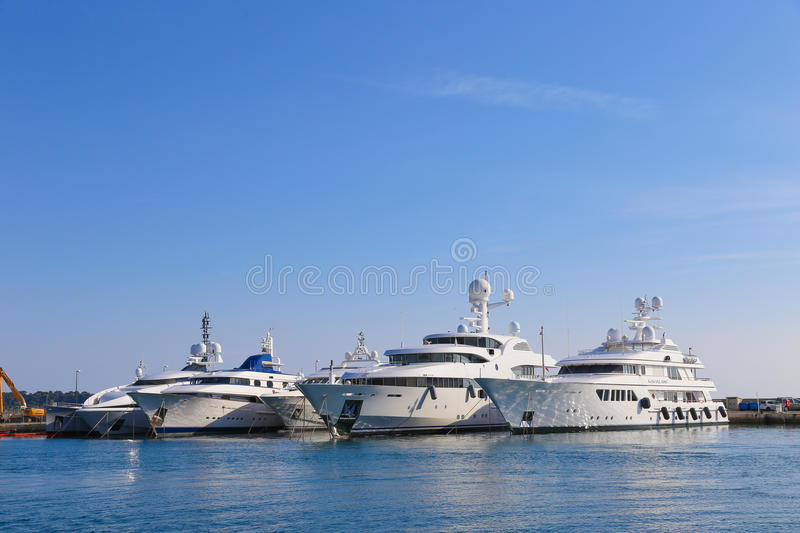 Yachts anchored in Port Pierre Canto in Cannes stock photo