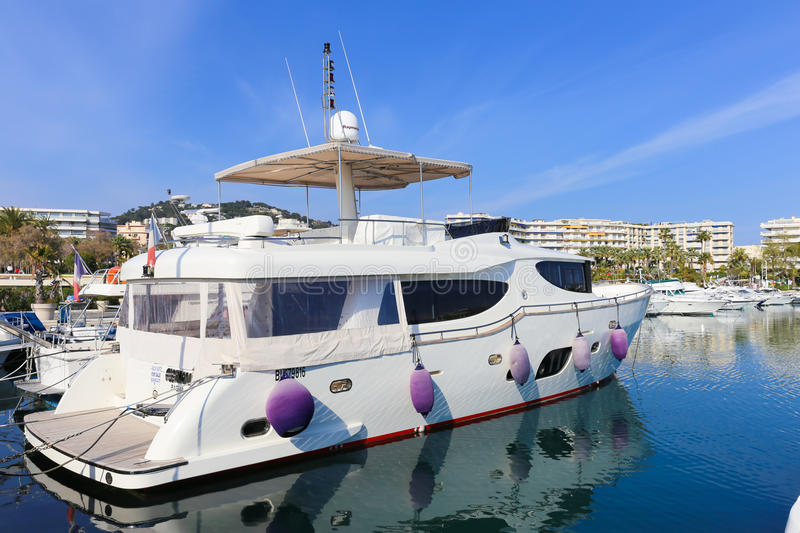 Yachts anchored in Port Pierre Canto in Cannes. CANNES, FRANCE - APRIL 12, 2015: Yachts anchored in Port Pierre Canto at the Boulevard de la Croisette in Cannes stock images