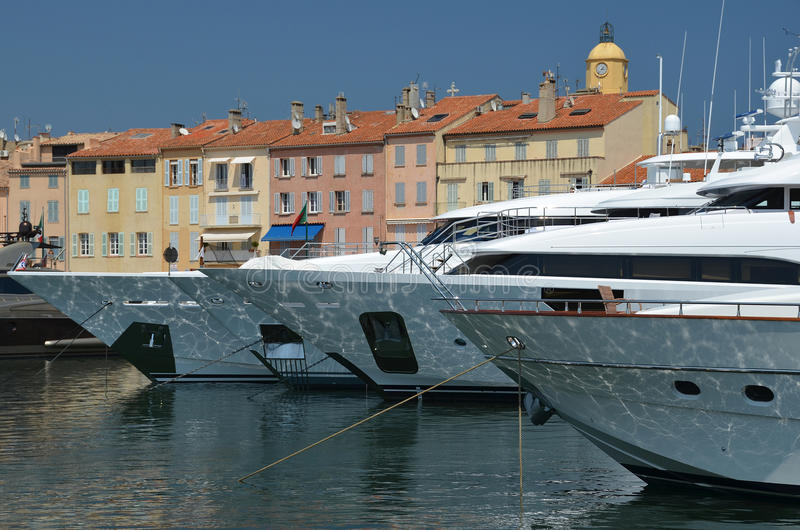 Yachts anchored in St. Tropez harbor royalty free stock photography