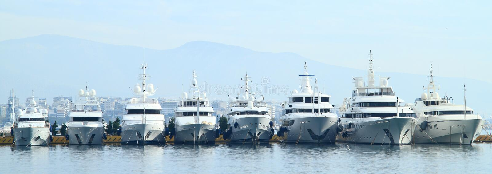 Yachts in Athens stock photos