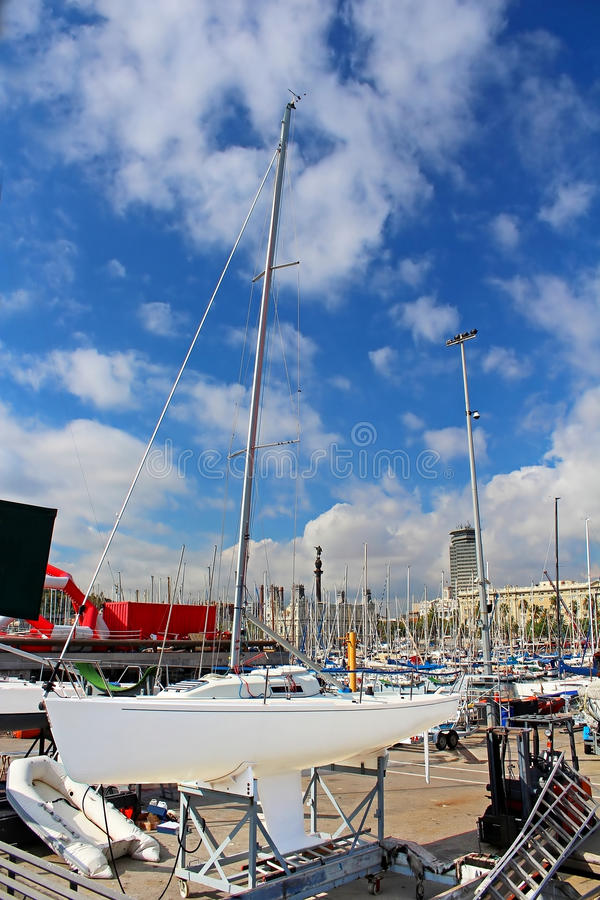 Yachts in Barcelona, Spain royalty free stock photography
