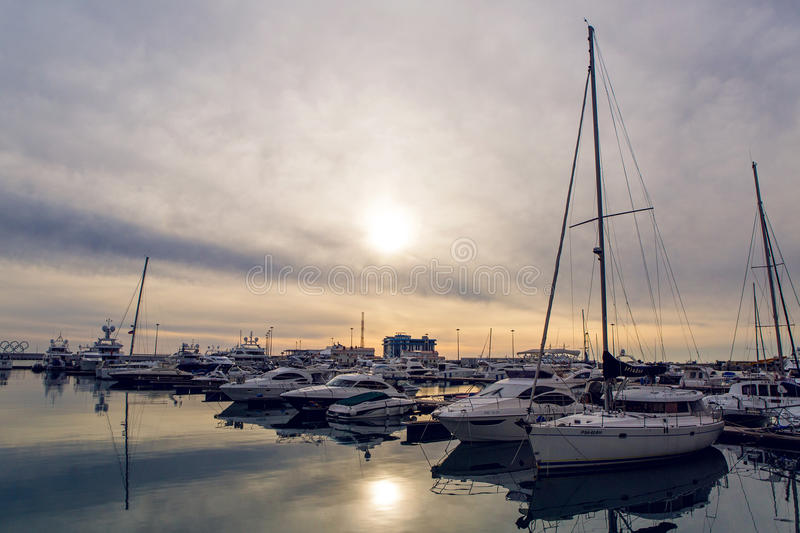 Yachts in the Bay at the seaport in Sochi city center stock images