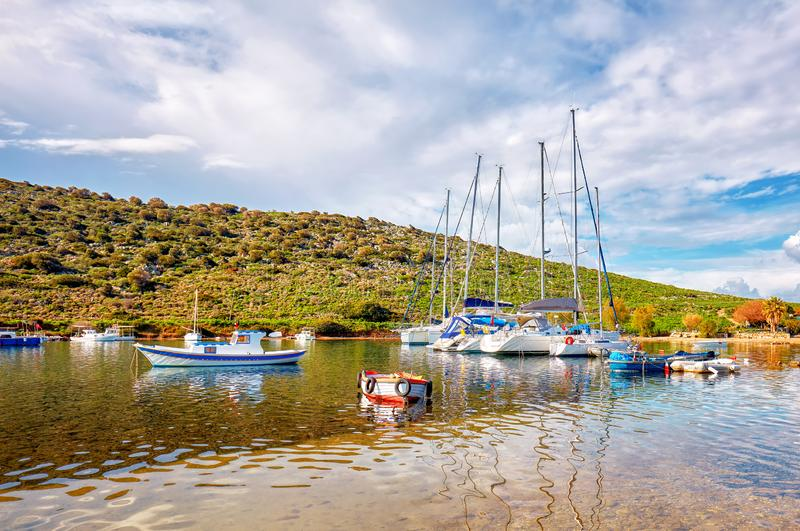 Yachts and boats anchored over the calm sea stock photography