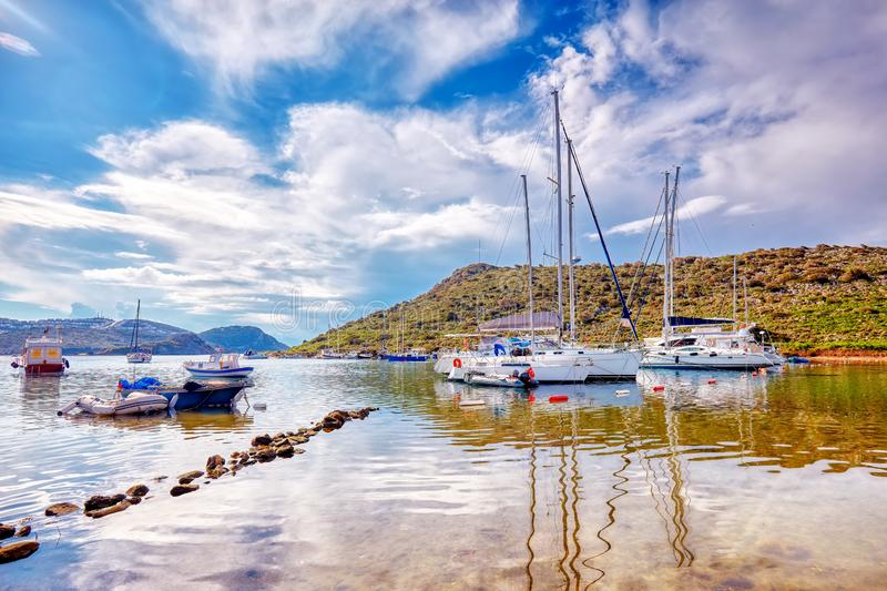 Yachts and boats anchored over the calm sea stock photo
