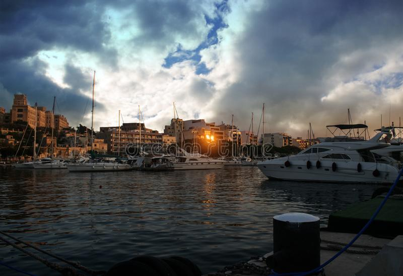 The beauty of Sunset in Msida, Malta stock photography