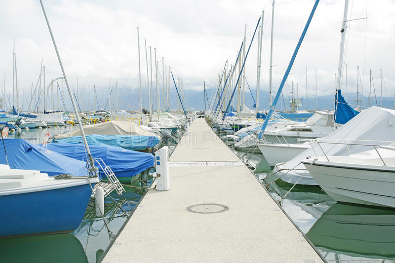 Yachts and boats in Ouchy, Switzerland stock image