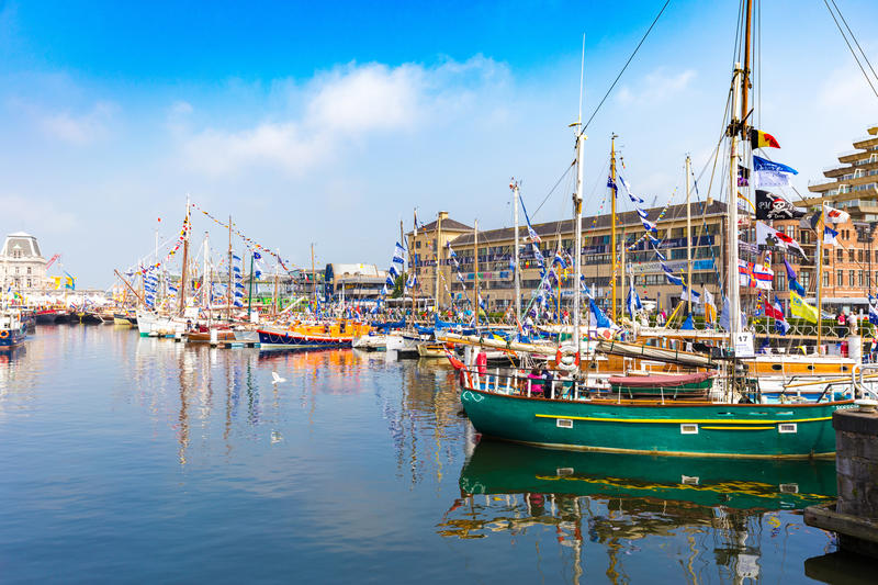Yachts and boats on show during annual Ostend yacht festival called Oostende Voor Anker.  royalty free stock image
