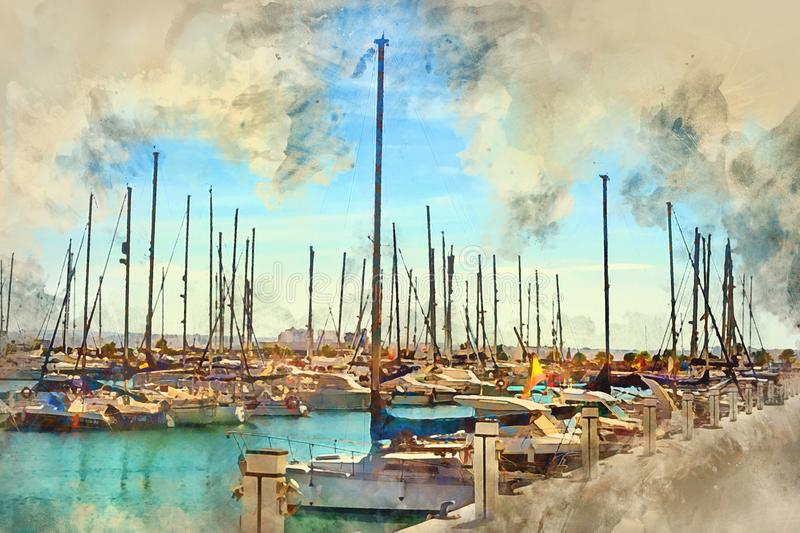 Yachts boats in Torrevieja, Spain vector illustration