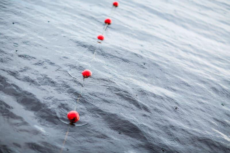Yachts a boia vermelha das amarrações do porto europeu pequeno Chuva Lago veja fotos de stock